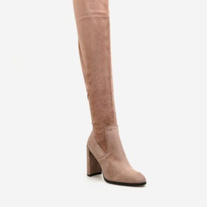 Shoes - pink thigh high chunky fashion boots